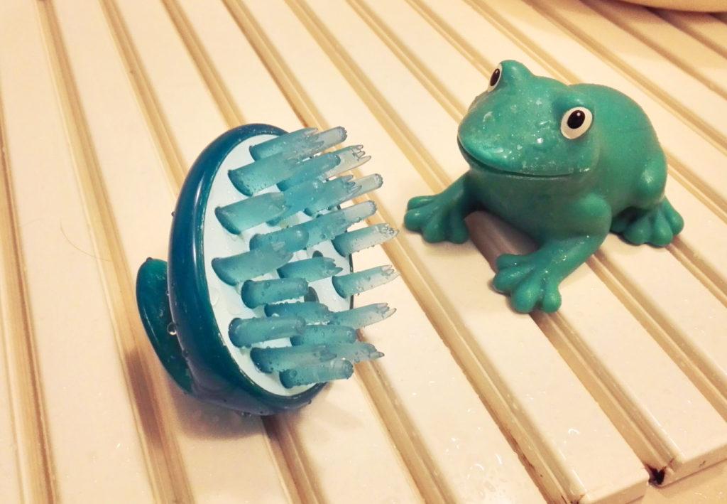 サクセス頭皮洗浄ブラシとカエル